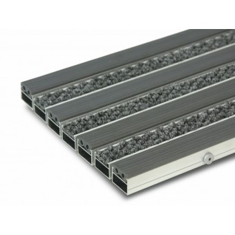 Грязезащитная алюминиевая решетка с резиновыми и ворсовыми вставками
